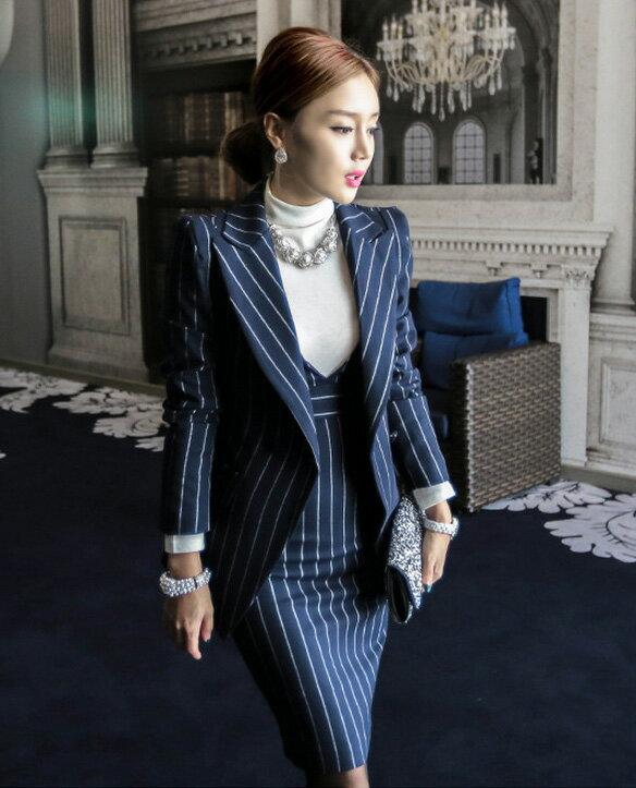 外套洋裝 西裝外套+背心連身裙套裝 艾爾莎【TAK6214】 2