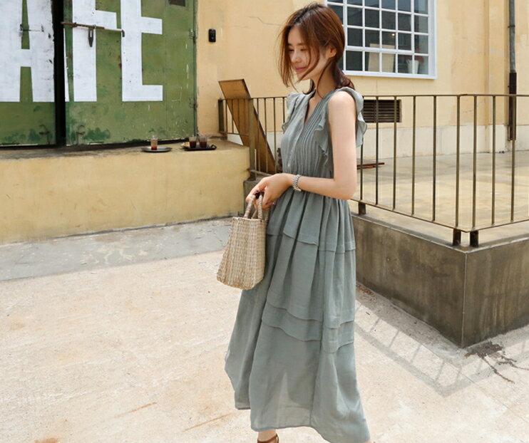 波浪袖連身裙 優雅荷葉袖壓摺紋V領高腰洋裝 艾爾莎【TAK6496】 1