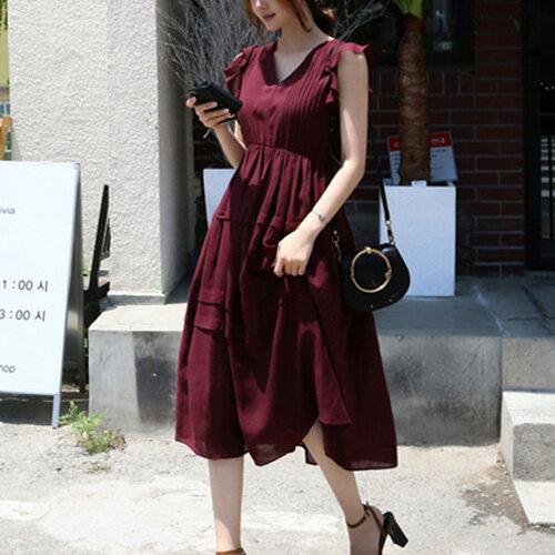 波浪袖連身裙 優雅荷葉袖壓摺紋V領高腰洋裝 艾爾莎【TAK6496】 0