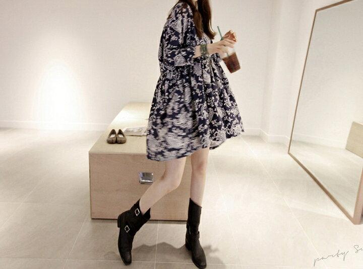 韓風復古連身裙 民族風青花瓷圖騰連身娃娃裙洋裝 艾爾莎【TAK6497】 2