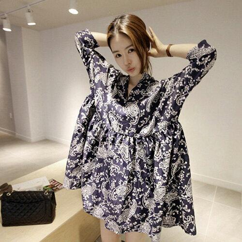 韓風復古連身裙 民族風青花瓷圖騰連身娃娃裙洋裝 艾爾莎【TAK6497】 0