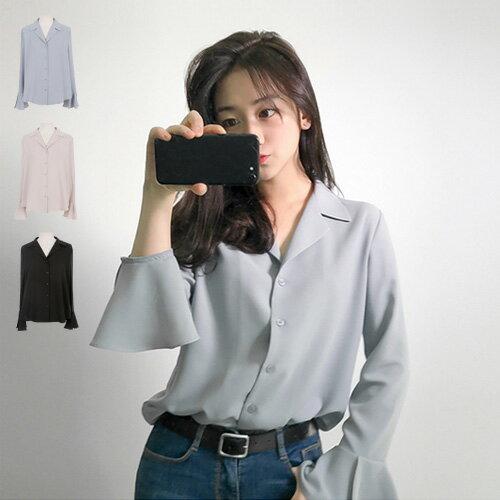 韓國正韓淑女柔情喇叭袖口長袖襯衫艾爾莎【TG300042】