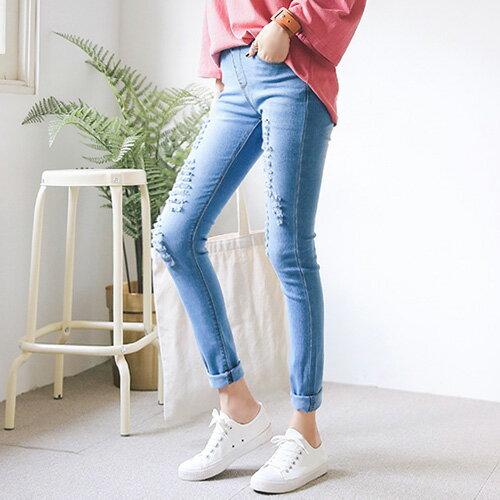 韓國鉛筆褲窄管褲時尚質感抓破牛仔褲艾爾莎【TG300121】