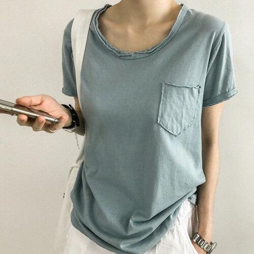 韓V領T恤簡約口袋素面T恤艾爾莎【TG300154】
