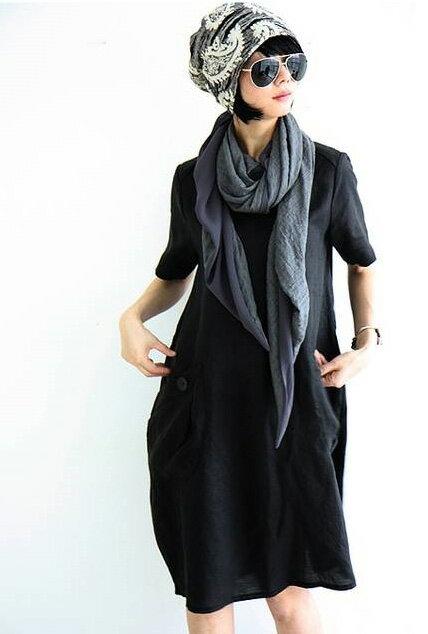 洋裝 簡單素色口袋寬鬆短袖連身裙 艾爾莎【TGK3378】 1