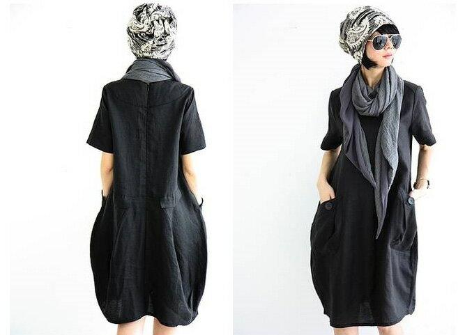 洋裝 簡單素色口袋寬鬆短袖連身裙 艾爾莎【TGK3378】 2