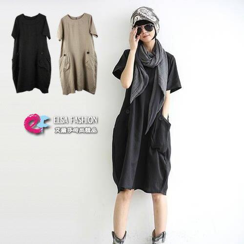 洋裝 簡單素色口袋寬鬆短袖連身裙 艾爾莎【TGK3378】 0