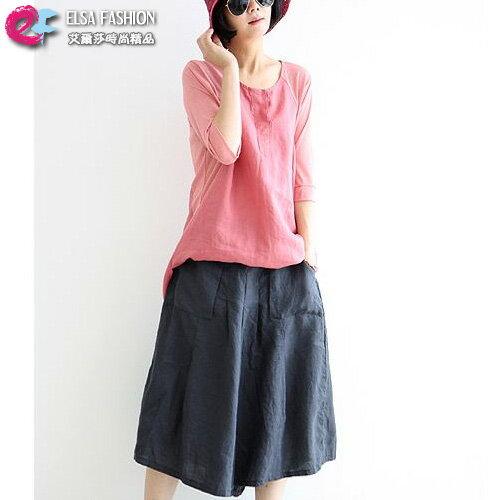 七分褲 休閒時光立體口袋鬆緊腰寬鬆褲裙 艾爾莎【TGK3411】 0