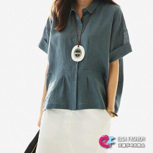 短袖棉麻衫 極簡素色寬鬆蝙蝠反摺袖亞麻短袖襯衫 艾爾莎【TGK3593】 0