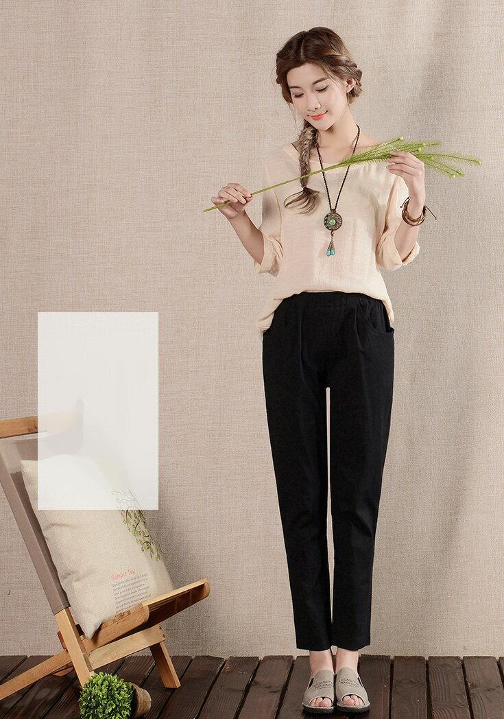 褲子 自然品味彈力腰直筒九分亞麻褲 艾爾莎【TGK3785】 1