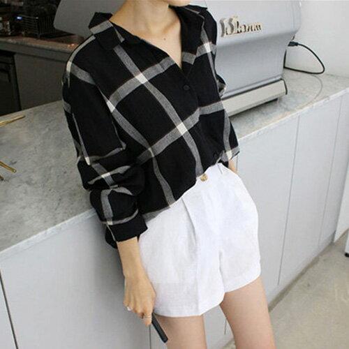 襯衫 韓流品味男友風寬鬆格紋長袖襯衫 艾爾莎【TGK3952】 1