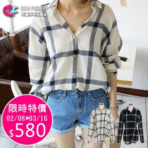 襯衫 韓流品味男友風寬鬆格紋長袖襯衫 艾爾莎【TGK3952】 0