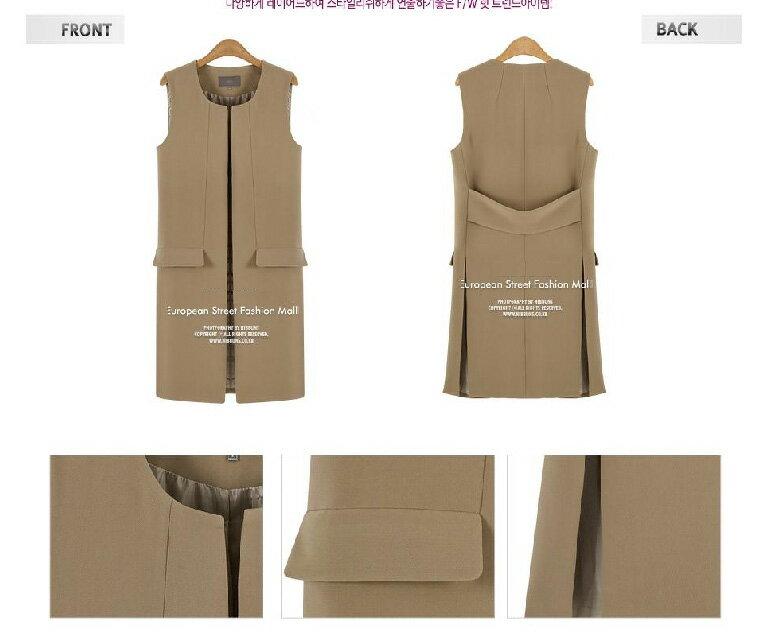 背心外套 歐美時尚雙開衩中長款馬甲背心外套 艾爾莎【TGK4006】 2