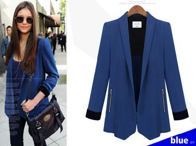 西裝外套 撞色反摺袖修身顯瘦一粒釦西裝外套 艾爾莎【TGK4010】 1