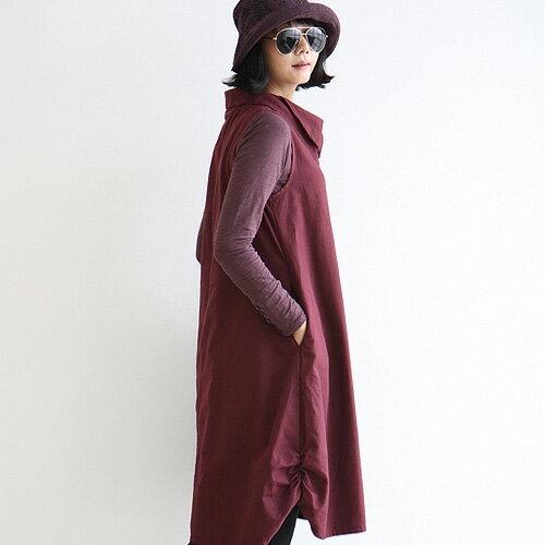 連身裙 素雅麻料寬鬆A字堆堆領背心連身裙 艾爾莎【TGK4042】 1