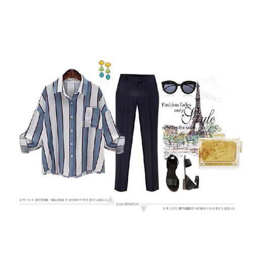 長袖襯衫 艾爾莎 清爽早秋撞色直條修身反摺袖口袋襯衫【TGK4121】 1