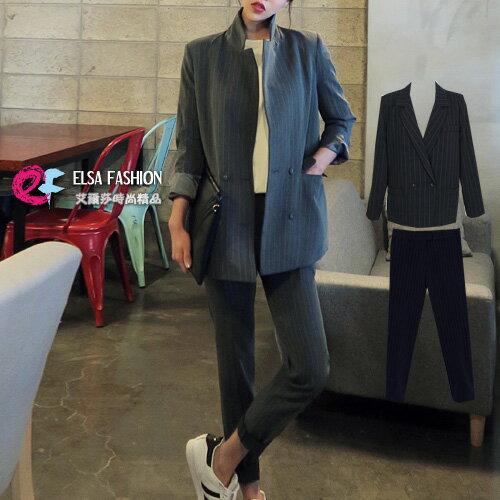 長袖褲裝 OL知性美學西裝外套+修身豎條西裝長褲套裝 艾爾莎【TGK4261】