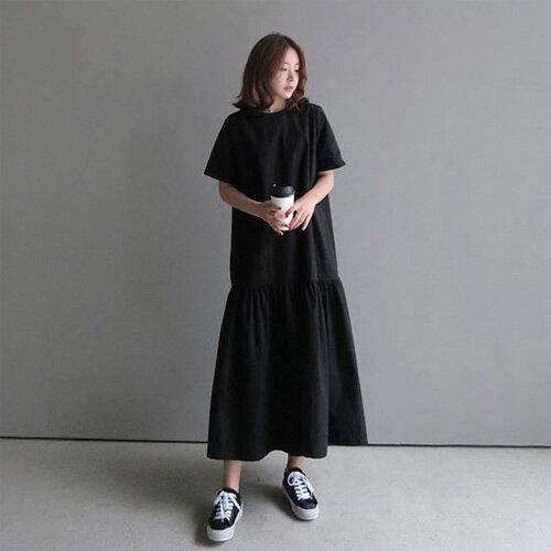 裙子 隨性韓品圓領荷葉裙擺超長款連身裙 艾爾莎 【TGK4939】 2