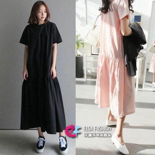 裙子 隨性韓品圓領荷葉裙擺超長款連身裙 艾爾莎 【TGK4939】 0