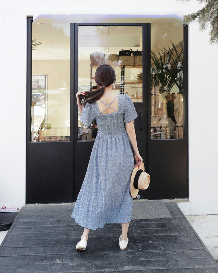 鄉村風洋裝 典雅風格紋背後交叉一字肩連身裙 艾爾莎【TGK5116】 1