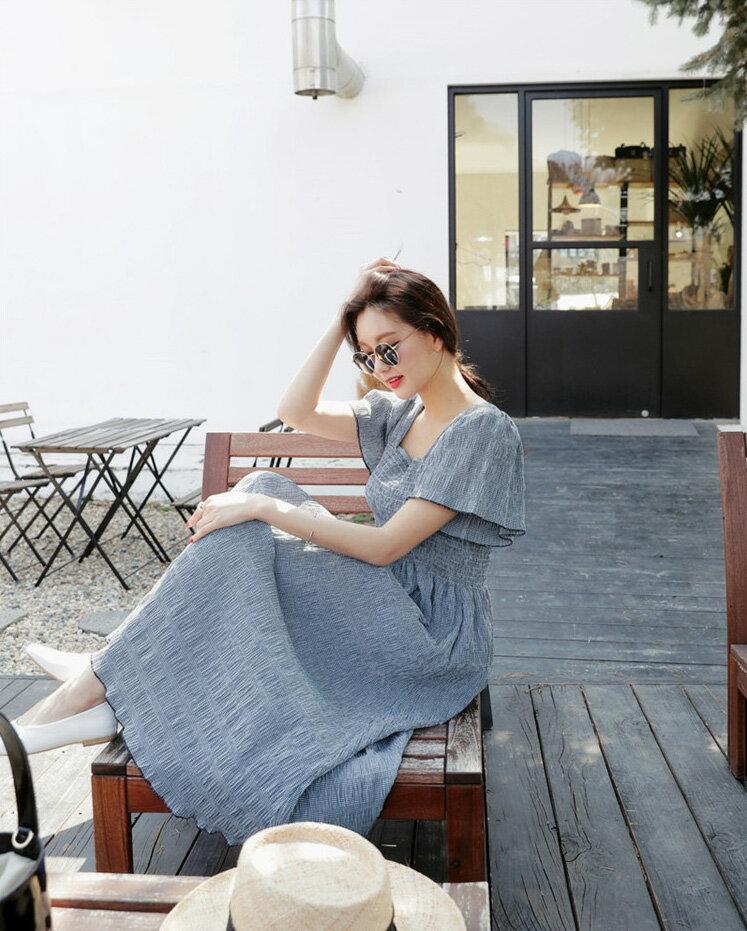 鄉村風洋裝 典雅風格紋背後交叉一字肩連身裙 艾爾莎【TGK5116】 2