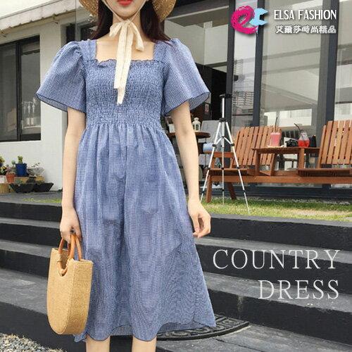 鄉村風洋裝 典雅風格紋背後交叉一字肩連身裙 艾爾莎【TGK5116】 0
