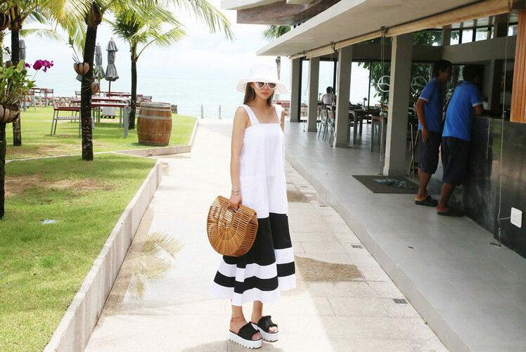 魚尾洋裝 隨性風格黑白拼吊帶連身裙 艾爾莎【TGK5310】 1