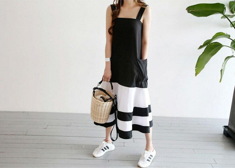 魚尾洋裝 隨性風格黑白拼吊帶連身裙 艾爾莎【TGK5310】 2