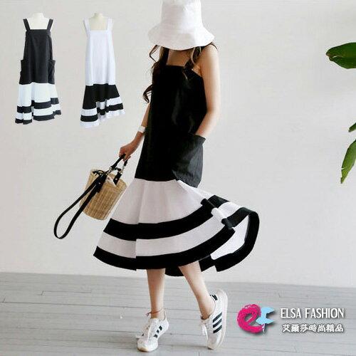 魚尾洋裝 隨性風格黑白拼吊帶連身裙 艾爾莎【TGK5310】 0