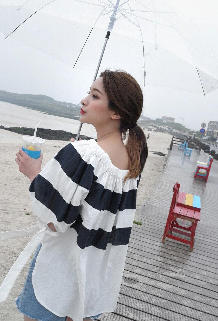 條紋上衣 成熟甜美寬鬆蝴蝶結不規則條紋襯衫 艾爾莎【TGK5318】 2
