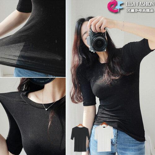 貼身五分袖上衣 簡單有型貼身微透圓領短袖上衣 艾爾莎【TGK5544】