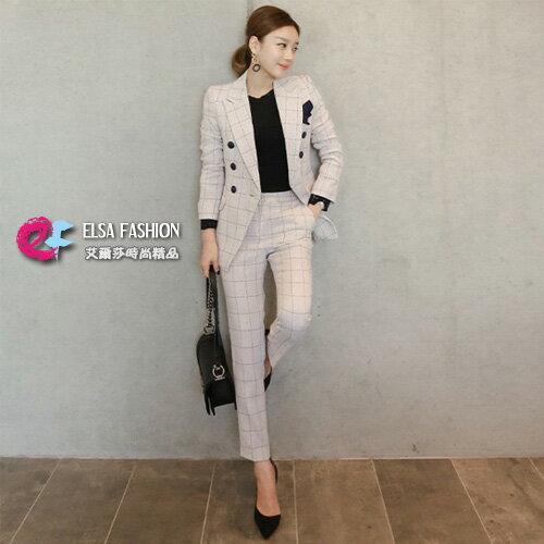 西裝雅痞雙排釦西裝外套+淺格紋西裝褲兩件式套裝艾爾莎【TGK5645】