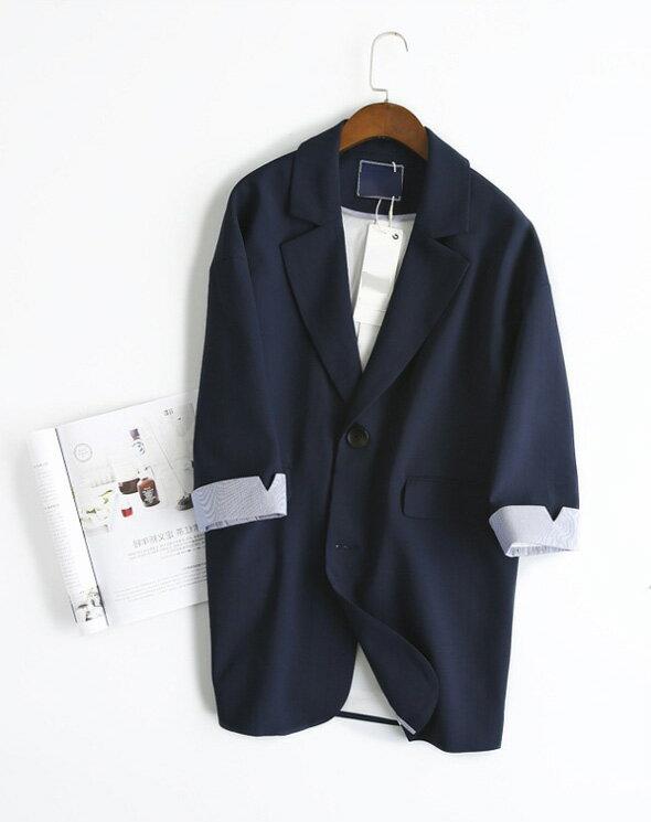 西裝外套 素色翻領開襟西裝外套 艾爾莎【TGK5681】 1