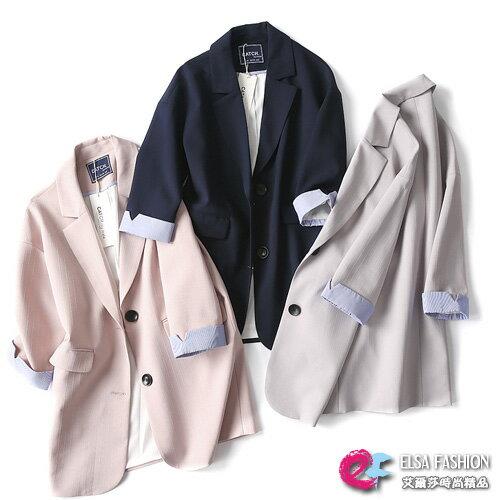 西裝外套 素色翻領開襟西裝外套 艾爾莎【TGK5681】 0