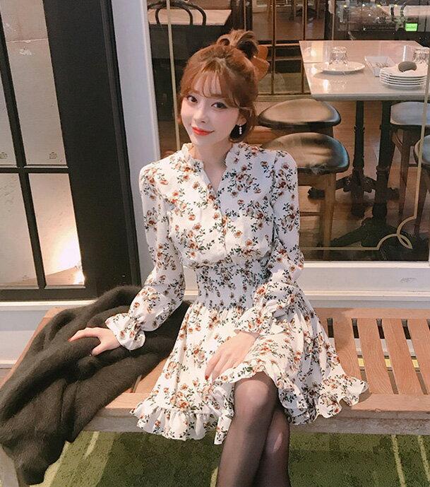 碎花洋裝 荷葉邊雪紡連身裙 艾爾莎【TGK6185】 1