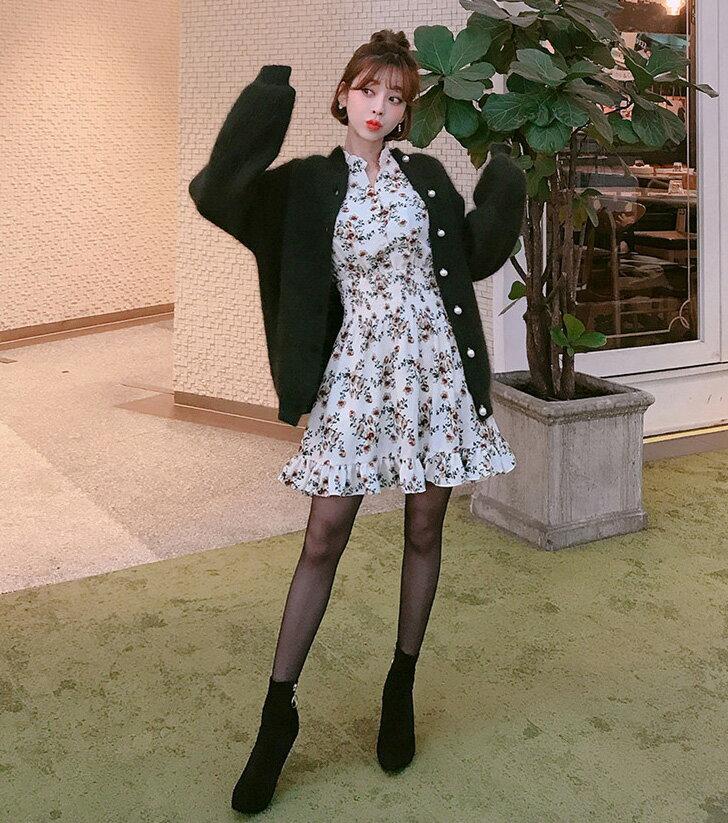 碎花洋裝 荷葉邊雪紡連身裙 艾爾莎【TGK6185】 2