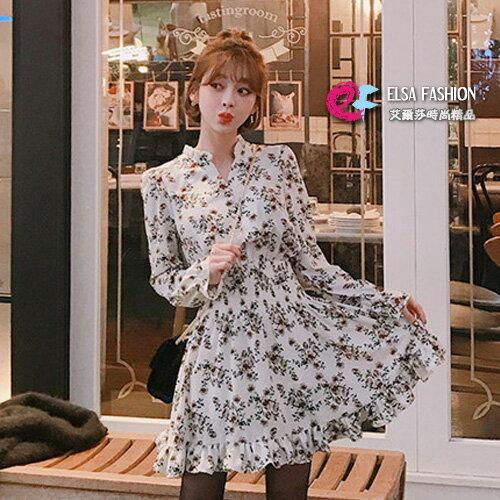 碎花洋裝 荷葉邊雪紡連身裙 艾爾莎【TGK6185】 0