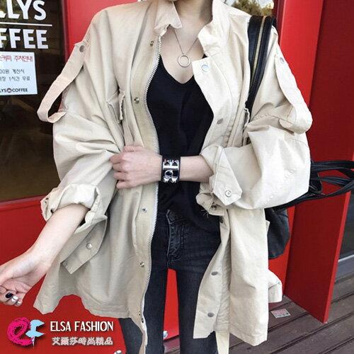個性軍裝風外套BF風蝙蝠袖風衣外套艾爾莎【TGK6239】