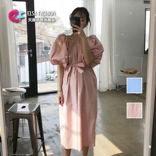 洋裝露肩蝴蝶結綁帶連身裙艾爾莎【TGK6377】