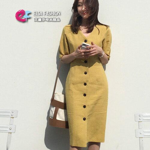 連身裙簡約一排釦連身裙艾爾莎【TGK6409】