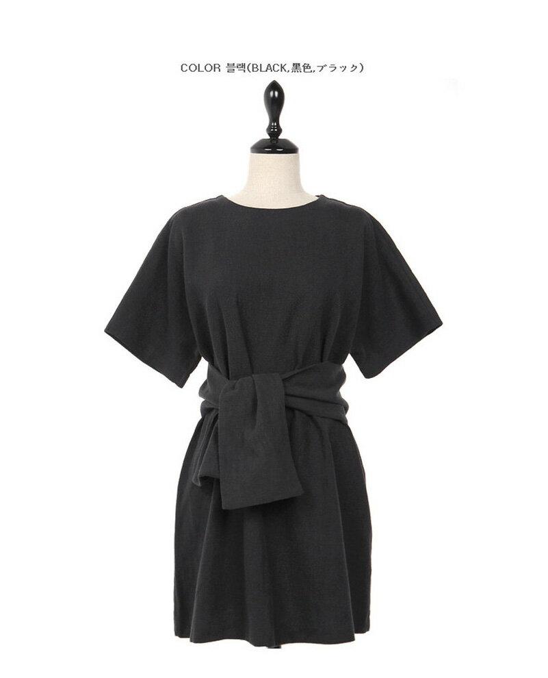 休閒洋裝 簡約腰部綁帶後領釦短袖連身裙 艾爾莎【TGK6507】 1