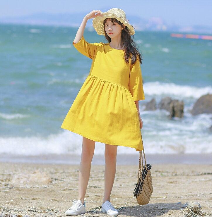 素色五分袖洋裝 寬鬆舒適高腰抓摺棉麻連身裙 艾爾莎【TGK6514】 1