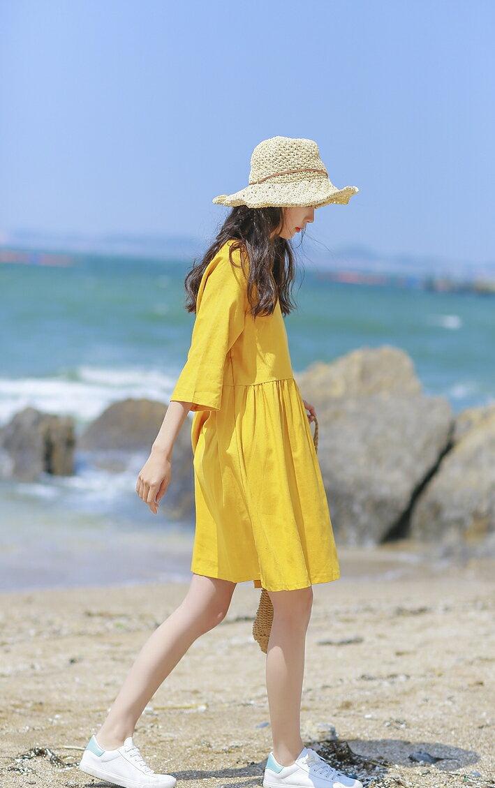 素色五分袖洋裝 寬鬆舒適高腰抓摺棉麻連身裙 艾爾莎【TGK6514】 2