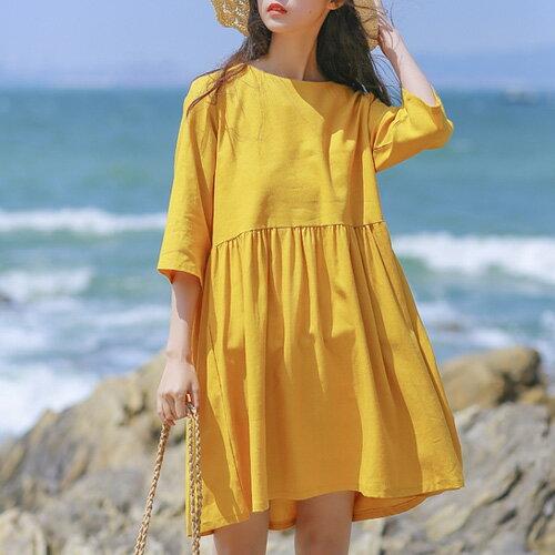 素色五分袖洋裝 寬鬆舒適高腰抓摺棉麻連身裙 艾爾莎【TGK6514】 0