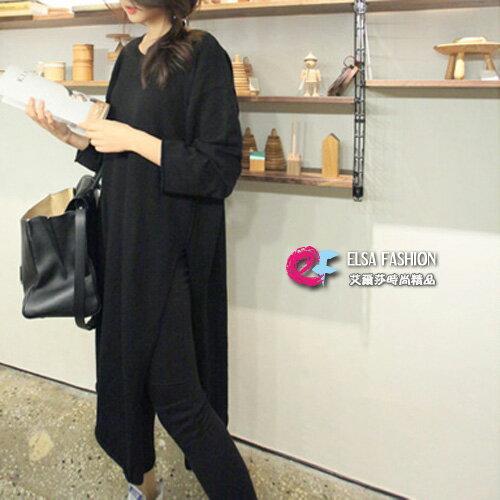 圓領七分袖T恤魅力時尚休閒大開叉長版上衣艾爾莎【TGT0122】