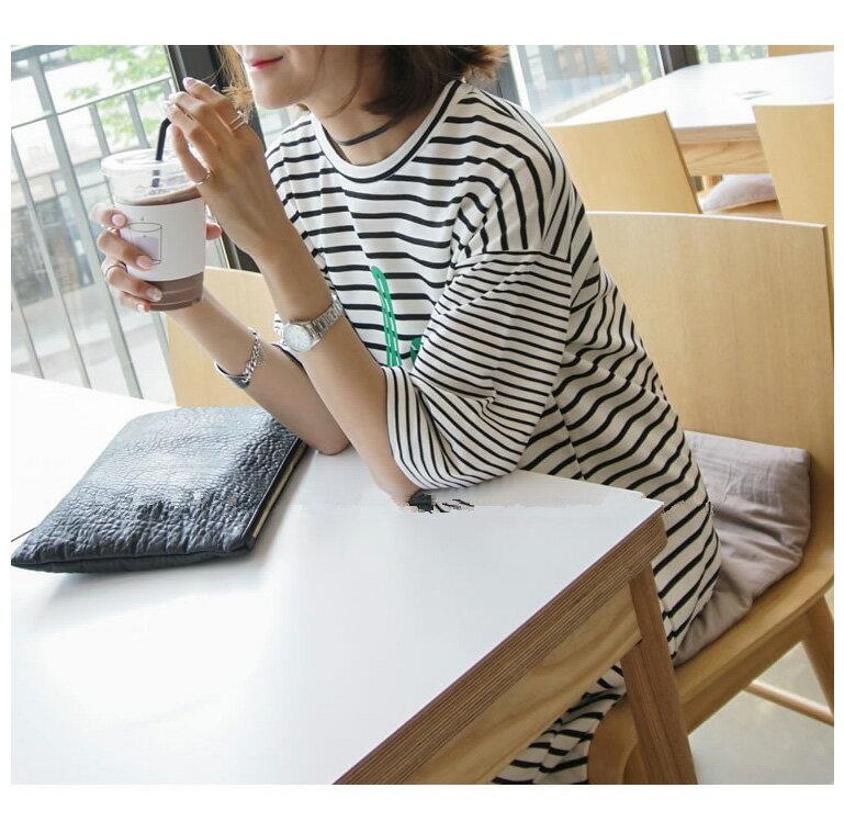 洋裝 超長款字母條紋連身裙 艾爾莎【TGT0131】 2