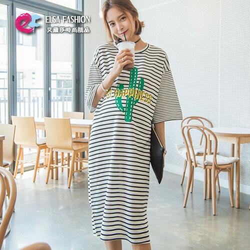 洋裝 超長款字母條紋連身裙 艾爾莎【TGT0131】 0