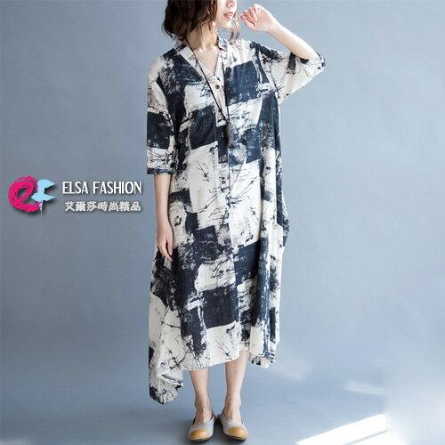 亞麻洋裝斑駁染印不規則亞麻連身裙艾爾莎【TGW5415】