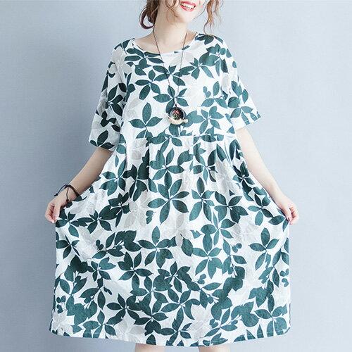 短袖洋裝清新樹葉印花圓領短袖連身裙艾爾莎【TGW6542】