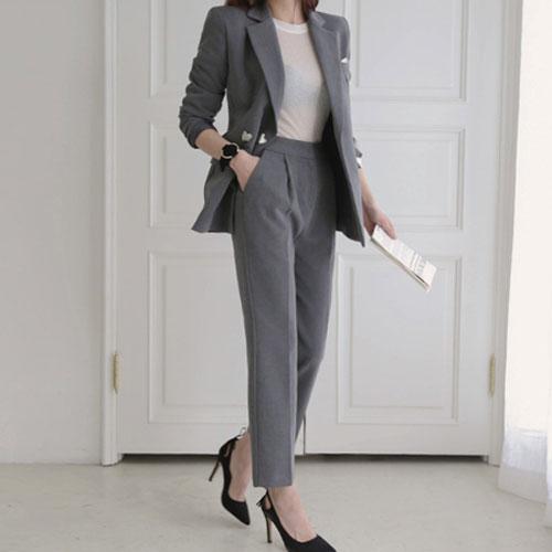 長袖褲裝 氣質西裝外套+修身直筒西裝褲套裝 艾爾莎【THB4146】 1